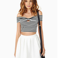 Stripe Off-Shoulder Sleeveless Top