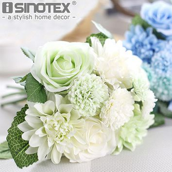 Silk Flower Roses Dahlias Artificial Flowers Fall Vivid Fake Leaf Wedding Ornamental Flores Bridal Bouquets Wedding Decoration