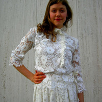Vintage lace dress romantic white