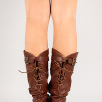 Wild Diva Lounge Candies-124 Lace Up Mid Calf Wedge Boot