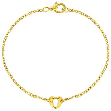 """Yellow Gold Flashed 925 Sterling Silver Thin Heart Key Bracelet for Girls 6"""""""