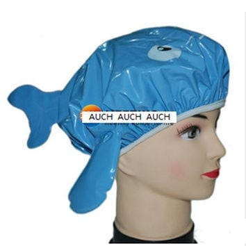 AUCH New/Durable/Cute Bouffant Cartoon Dolphin Design Blue/Purple Random Color Waterproof Double Layer Children/Kids Shower Cap/Hat/Spa Lovely Bathing Caps