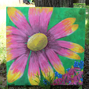 Hand Painted Pink and Yellow Flower- 20x20 on canvas