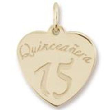 Quinceanera Charm in Yellow Gold Plated