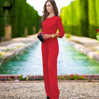 Fashion Bodycon Jumpsuits And Rompers For Women Sexy Backless Jumpers Long Sleeve Spandex Bodysuit Woman One Piece Jumpsuit