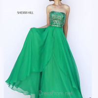 Strapless Beaded Bodice Formal Prom Gown By Sherri Hill 1941