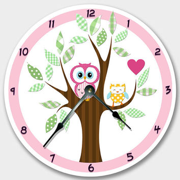 Wall clock MOD OWL Nursery art, Baby, Toddler, Girl, custom room decor