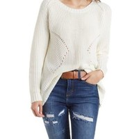 Ivory Ribbed Pullover Sweater by Charlotte Russe