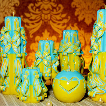 Passover Gift -Havdalah Candle - Carved candle - Special Gifts - Blue Yellow collection - From Ukraine