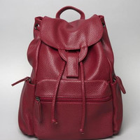 Red Textured Backpack