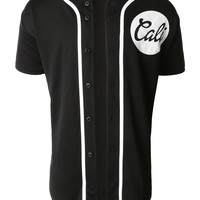 LE3NO Mens Short Sleeve Button Down Cali Logo Baseball Jersey (CLEARANCE)
