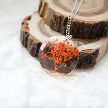 Transparent Resin Necklace With Real Flower, Faceted Circle Resin Pendant, Preserved In Resin Orange Flower, Botanical Necklace With Flower