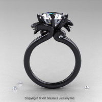 Art Masters 14K Black Gold 3.0 Ct White Sapphire Diamond Dragon Engagement Ring R601-14KBGDWS