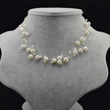 Free shipping 16.5 Inch 5 Strand Natural Freshwater Pearl Necklace for Womens Natural White Loose Beads Making Necklaces