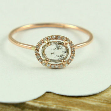 Rose Cut Diamond Slice Ring, Rose Gold Diamond Ring, Yellow Gold Diamond Ring, Engagement Ring In 14K Gold Wth Diamond Slice.