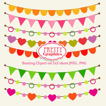 Digital Buntings Clipart - JPEG , PNG Instant Download - Commercial Use - 5x5 Sheet - Scrapbook Kit - Embellishments - High Quality 300 dpi