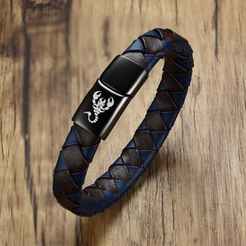 Vnox Genuine Leather Men Bracelet Engraved Scorpion Wolf Dragon Male Gift 8.2""