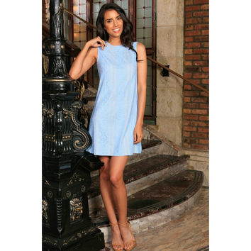 Baby Blue Crochet Lace Sleeveless Summer A-Line Cocktail Dress Women