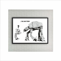 I am your Father Banksy Star Wars Print / At-At Poster Graffiti Art / US Letter-A4 up to A0 size / Street Art / Wall Art / Provocative Humor