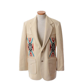 Vintage 80s Mens Pioneer Wear Wool Indian Jacket 1980s Chimayo Golden Collection Winter White Rockabilly Southwestern Coat / Mens 42L