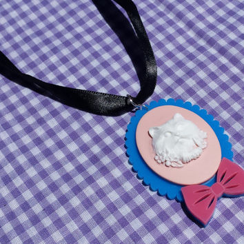 Kawaii kitty cameo necklace, cat necklace, cat choker, cat pendant, cat cameo, cameo necklace, kitschy cameo necklace, lolita necklace
