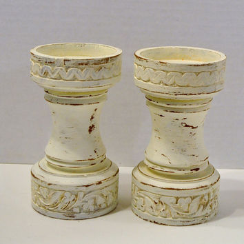 Wood Candle Holders Candlesticks White Upcycle Recycle Handmade LittlestSister