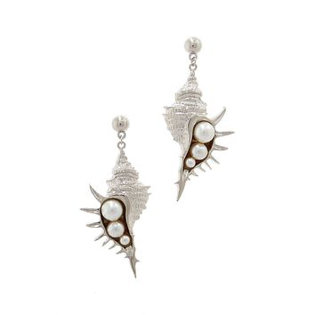 Stylish Trendy Sea Shell And Pear Earring
