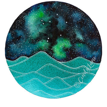 The Libra Constellation above the ocean waves watercolor print, Space Art, Galaxy Painting, Stars Print, Zodiac Print, Night Sky Print
