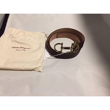 NWT: Salvatore Ferragamo Parigi 679154 adjustable belt Bordeaux Length 38