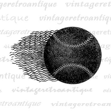Baseball Digital Image Graphic Sports Artwork Clip Art Printable Flying Baseball Download for Transfers T-Shirts Pillows HQ 300dpi No.4648