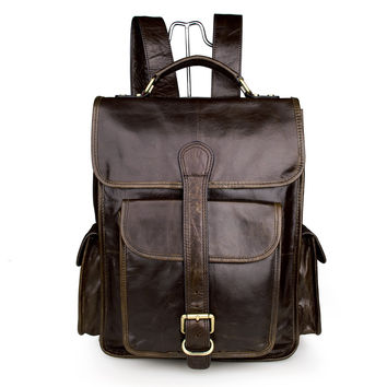 100% Genuine Leather Schoolbag Hiking Backpack_Men's Leather Bags