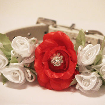 Red white Wedding Dog  Accessory. Red White Floral with Rhinestones -High Quality Leather Collar,  Wedding Dog Accessory
