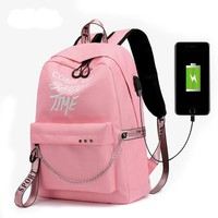 Luminous USB Charge Women Backpack Fashion Letters Print School Bag Teenager Girls Backpack