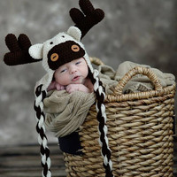 Baby Moose Animal Hat with antlers and twisted ties brown tan beige ecru Halloween costume ears eyes cap beanie flaps baby child boy girl