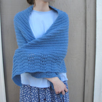 Blue Shawl Wrap, Knitted Wool Acrylic, Soft Cozy Prayer Shawl