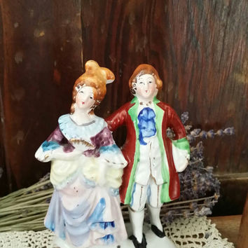 Antique Occupied Japan Victorian Colonial Figurine Porcelain Couple Ceramic Small Man Woman