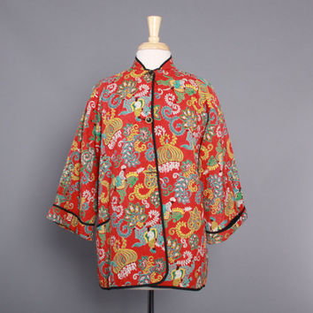 50s NOVELTY PRINT Quilted JACKET / 1950s India Men on Horses Print Swing Jacket