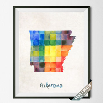 Arkansas, Artwork, Print, Map, Wall Art, Poster, Painting, Kitchen Art, Bedroom, Bathroom Art, USA, United States, College, School [NO 5]