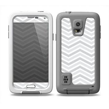 The Subtle Wide White & Gray Chevron Skin for the Samsung Galaxy S5 frē LifeProof Case