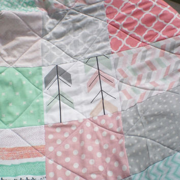 Baby quilt-baby girl quilt,baby girl bedding,Rustic Nursery,woodland baby quilt,toddler,mint green,coral,grey,arrows,chevrons,dots,Arrow Gal