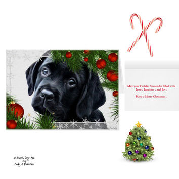Black Lab Christmas Cards 10 - Labrador Christmas Cards - Black Lab Art B1- Christmas In July - Lab Dog - Labrador Retriever - Black Dog Art