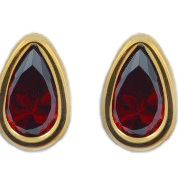 14Kt Yellow Gold Garnet Pear Bezel Stud Earrings