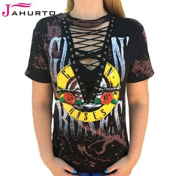 Day-First™ Jahurto Guns N Roses T-Shirts For Women Low Cut Hollow Out Lace Up Sexy Top Punk Rock Graphic Tees Women Black Shirt