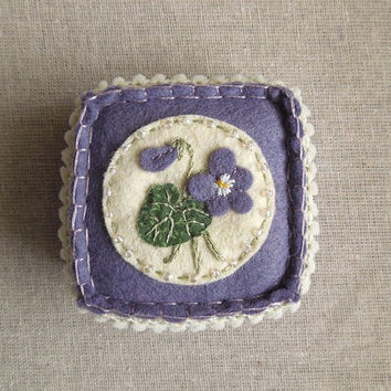 Embroidered Violet Felt Pincushion by SeaPinks on Etsy