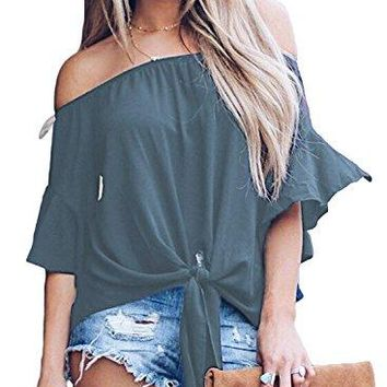 Fantastic Zone Womens Striped Off Shoulder Bell Sleeve Shirt Tie Knot Blouses Tops