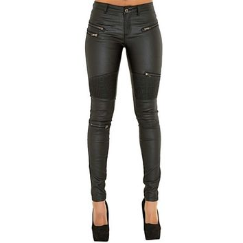 Super Skinny Black Leather Leggings