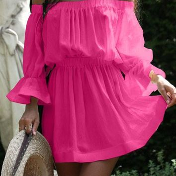 Casual Rose Carmine Pleated Ruffle Off Shoulder Flare Sleeve Mini Dress