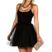 Randy-Black Tulle Party Dress