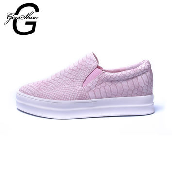 GENSHUO 2017 New Womens Chunky Platforms Lace Up Vintage Flat Loafer Forms Loafers Snake Pattern Slip On Creeper Shoes