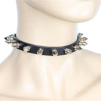 """Black Leather Thin 1/2 Choker Necklace with 1/2"""" Spikes Skinny Collar"""